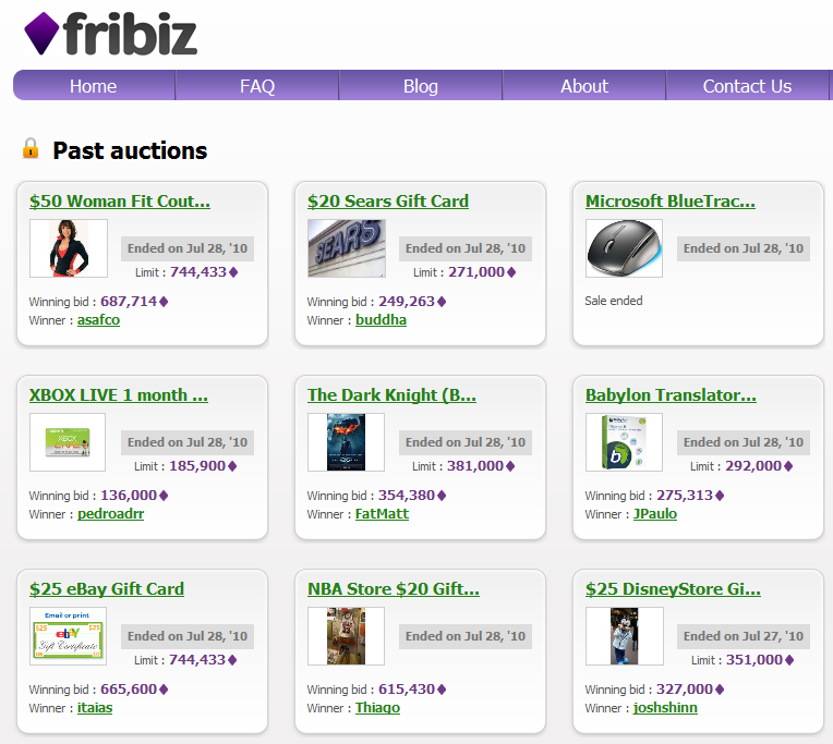 Number of prizes given away by Fribiz.com